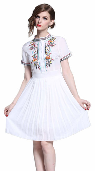 Picture of Women's Short Sleeve Mexican Embroidered Floral Pleated Midi A-line Cocktail Dress