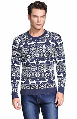 Picture of Shineflow Men's Crew Neck Reindeer Snowflakes Christmas Pullover Sweater Jumper